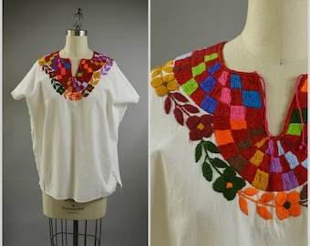 White Cotton Top Hand Embroidered Huipil Style Blouse Size Large Guatemalan Clothing All Hand Stitched