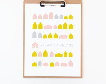 It Takes A Village Art Print | Pink & Yellow