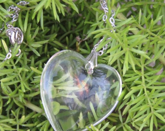 Heart Glass Necklace, Vintage Costume Jewelry, Valentine's Day Heart Pendant and Silver Chain.