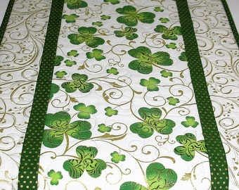 St. Patrick's Day Table Runner, Shamrocks with Metallic, quilted, fabric from Hoffman and Kaufman