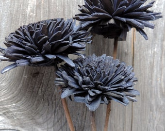 Dried Flower Material Hand Crafted Dyed Navy Blue Sewn By Hand Twig Stem Dye Bunch of 3 Large Flowers Floral Supplies