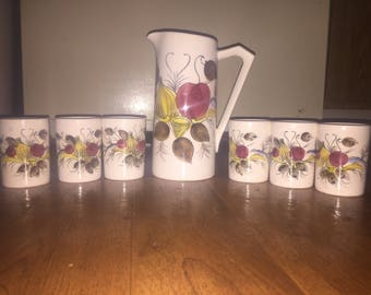 7pc ceramic pitcher and cup set