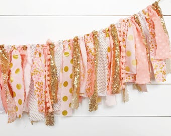 Coral, Peach, Blush Pink, and Gold Scrap Fabric Banner w/ Sequin - 3 ft READY TO SHIP!