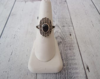 Vintage Art Deco Style 925 Sterling Garnet and Marcasite Ring, Size 7.5, 6 Grams