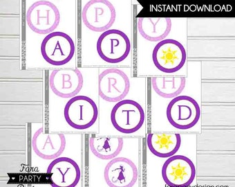 Rapunzel Birthday Party Collection Printable 'Happy Birthday' Banner by Fara Party Design | Tangled Movie | Princess Rapunzel