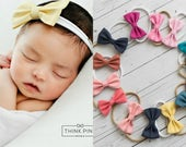 Nylon baby headbands, nylon headbands,baby hair bows, mini bow headband, infant headband, newborn headband, baby girl headbands, baby bows.
