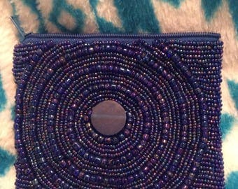 Beaded coin purse pouch circular/horizontal designs Blue satin lining/zip top NWOT