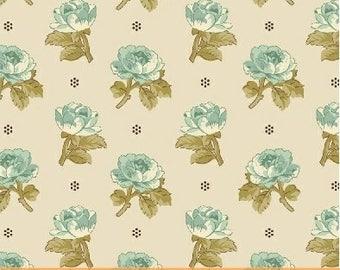 Aqua Roses on Cream 42650-1 - AUBREY -  Windham Fabrics - By the Yard
