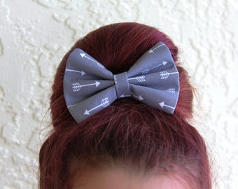 Grey with White Arrows Hair Bow Hair Clip Rockabilly Pin up Teen Woman Girl