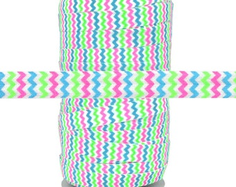 Spring Colors Chevron Fold Over Elastic 100yd