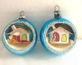 1950s Christmas, Ornament, Putz Houses, Blue,  Diorama, Mercury Glass, Indent, RARE