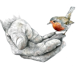 Print - The Gardener and the Robin - Pencil Drawing