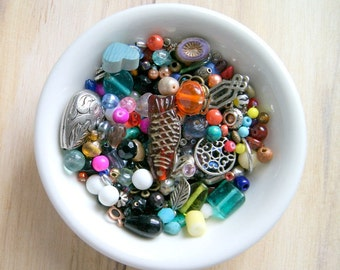 kitchen sink bead soup mix 4oz,  glass, plastic, silver, brass, cabochons, colorful