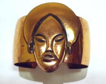 Exotic lady copper cuff bracelet