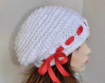 Slouchy Beanie Slouch Hat Oversized White Beret CHOOSE COLOR Knit Crochet White Scarlet Red Ribbon Winter Fashion Girly Gift under 100