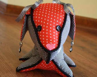 Decorated Stuffed Dog in Black, Red, and Hearts with Silver and Black Trims
