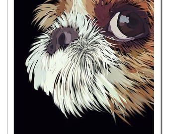 Shih Tzu Dog Illustration-Pop Art Print