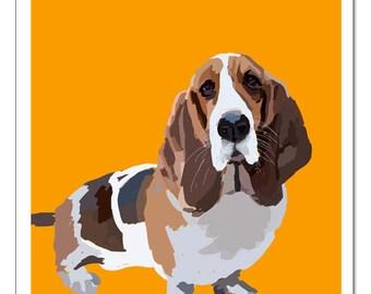 Basset Hound Dog Illustration-Pop Art Print