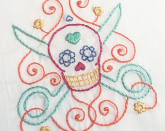 Scissor Sugar Skull Embroidery Pattern PDF