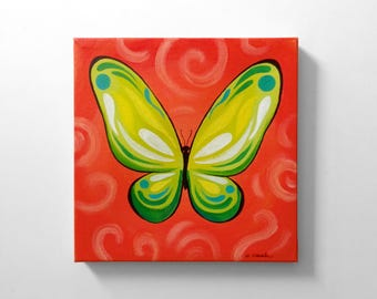 Whimsical Butterfly Original Canvas Acrylic Painting