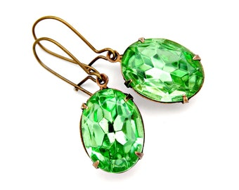 Green Rhinestone Earrings/ Green Crystal Earrings/ Large Green Earrings/ Green Dangle Earrings/ Green Statement Earrings/ Rhinestone Jewelry