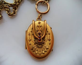 Antique Edwardian or Victorian Gold Locket Chain Necklace Gold Plated Filled Rose Cut Garnets