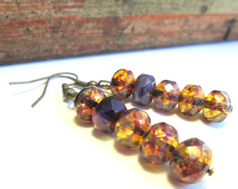 Whisky and Lavendar Czech Glass Earrings, Boho Chic Gypsy Look with Brass Hypoallergenic Niobium Earwires