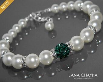 White Pearl Emerald Bridal Bracelet Swarovski Pearl Silver Wedding Bracelet White Pearl Green Crystal Bracelet Wedding White Pearl Jewelry