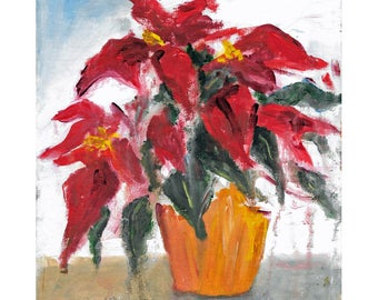 Original impressionistic acrylic floral painting 10x8 Dramatic Red Poinsettia Pllant