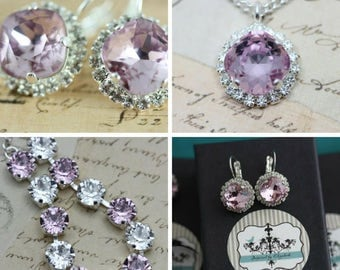 Lilac Jewelry Set Lilac Purple Bracelet Necklace Earring Set Swarovski Crystal Maid Of Honor Gift Mother of Bride Gift Clip On Also Avail