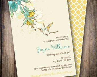 Hummingbird Baby Shower Invitation, Hummingbird Baby Shower Invite, Printable Hummingbird Baby Shower Invitation in Cream, Yellow and Aqua