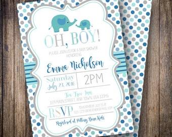 Polka Dot Mama and Baby Elephant Baby Shower Invitation, Boy Baby Shower Invite, Printable Baby Shower Invite - Shades of Blue, Teal, Gray