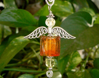 Hand blown orange and red glass beaded hanging angel