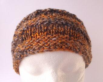 Knitted Headband, Handspun Knit Hairband, Gold Black Grey Hairband, Adjustable Headband, Artisan Headband, Silk & Merino Knit Earwarmer
