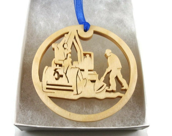 Crane Operator Or Construction Laborer Christmas Ornament Handmade From Birch Wood By KevsKrafts