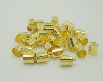 Gold Plated Brass End Cap-Cord End-Connector-12x8mm.