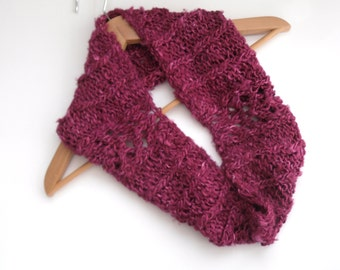 Pink hand knitted Banana Silk cowl