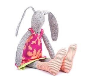 Stuffed bunny doll - knitted silk rabbit doll in fuchsia burgundy dress with salomon flowers & peach strip socks - timohandmade eco doll
