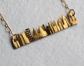 Skyline City Necklace ... Vintage Brass Pendant New York Skyscraper