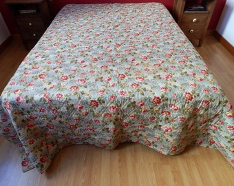 French Boutis / Vintage Quilt Provencal Traditional Cotton Prints Exceptionally Large