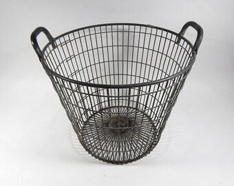 French Vintage Metal Basket for Gathering Potatos