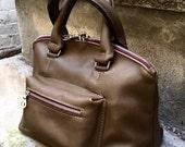 For tzoltek - Custom Leather Satchel, Leather zippered Domed Satchel Handbag with Single Strap - Satchel Handbag - Laurel Dasso