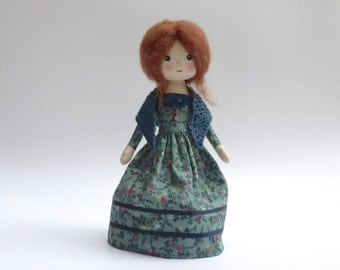 victorian costume doll, Emily Bronte inspired doll, heirloom doll, OOAK doll