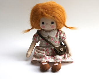 Cloth doll, heirloom doll, red-haired doll, rag doll, collectors doll, ginger haired doll, gifts for her