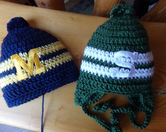 Michigan State University or Univ of Mchigan  Baby hat for Newborn to 18 months - Spartan Wolverine team colors