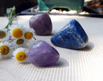 INSOMNIA Crystal Set - Amethyst, Lepidolite, Lapis Lazuli, crystal healing