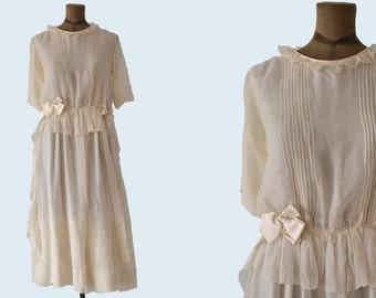 1910s Sheer Silk Dress size S