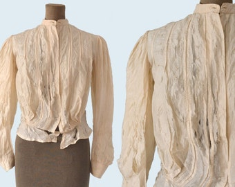 1900s tattered Victorian Silk Blouse size S