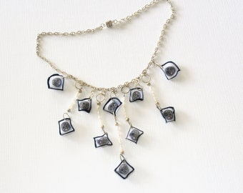 Translucent Polymer Necklace - white, grey, black - Pearl Necklace - Gift for Her