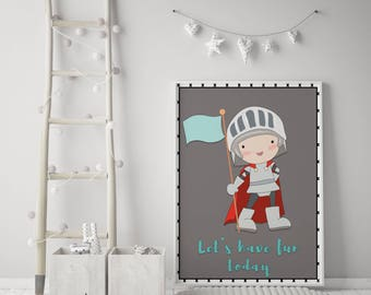 Knight Print | children's prints | Individual Print | Boys Wall Art | Kids wall art | Knight wall art | Dragon Wall art | Knight 2